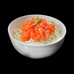 Salade de choux saumon, sésame