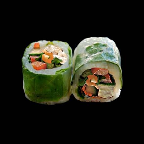 Spring Végétarien concombre poivron-rouge menthe coriandre carotte - 6 pièces.